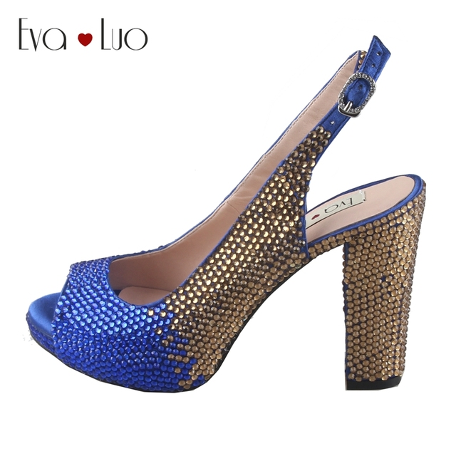CHS816 DHL Custom Made Block Heel Royal Blue Gold Crystal African Women  Shoes Slingbacks Women Bridal Wedding Shoes Dress Pumps 167a4a40add2
