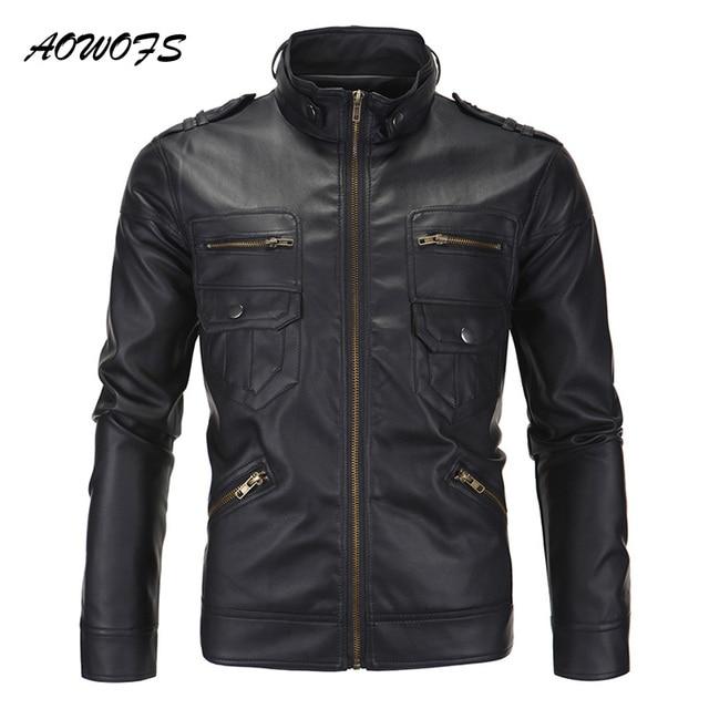 AOWOFS Mens Leather Jacket Brown Black Vintage Motorcycle Jacket Slim Fit  Pocket Leather Biker Jacket Stand Collar Moto Fashion
