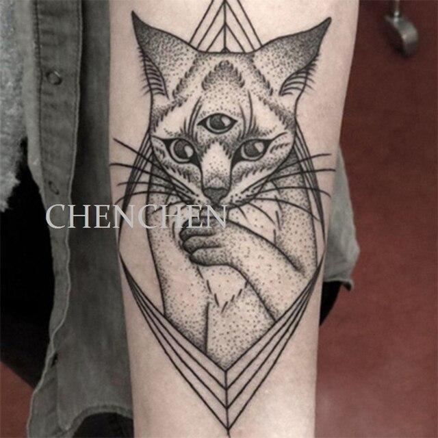 Tatuaje Temporal Etiqueta Tres Ojos Gato Geométrico Agua