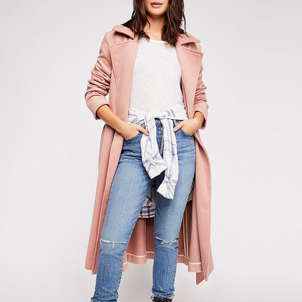 Office 2018 Plaine Rose Revers Taille Lady Ceinture Plus Élégant Lâche Femelle Hiver Femmes Boho Gris Manteaux Doux camel rose Mode Décontracté wCnqf1tC
