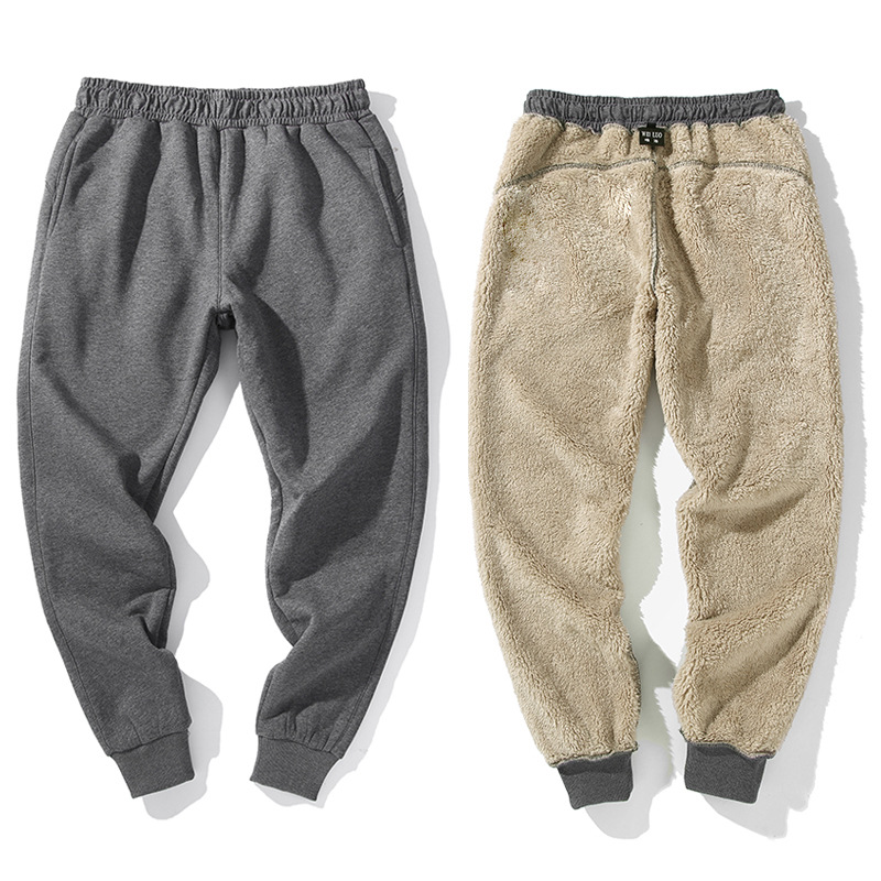 2018 Winter Thicken Pants Men Sporty Slim Fit Solid Casual Plus Size Fleece Lamb Fur Sweatpants for Parkour Freerunning Pant