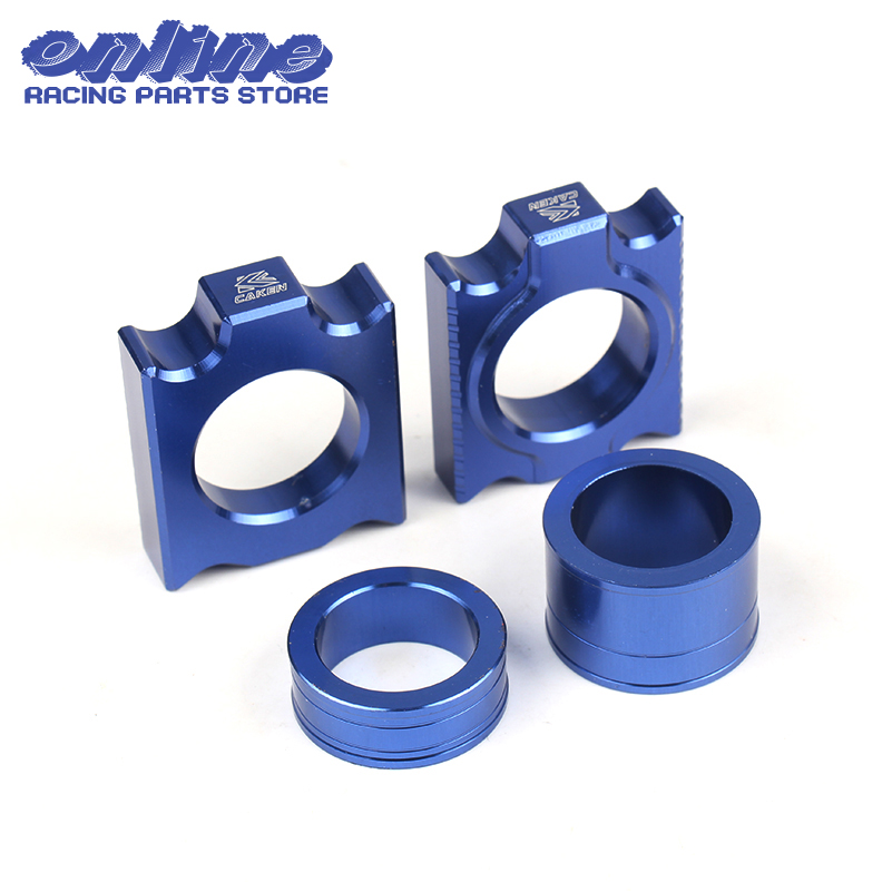 Blue Cnc Billet Voorwiel Hub As Spacers Met Kettingspanner As Blok Voor Yzf450 Yz450f Yz250f Dirtbike Offroad Motorfiets 50% Korting