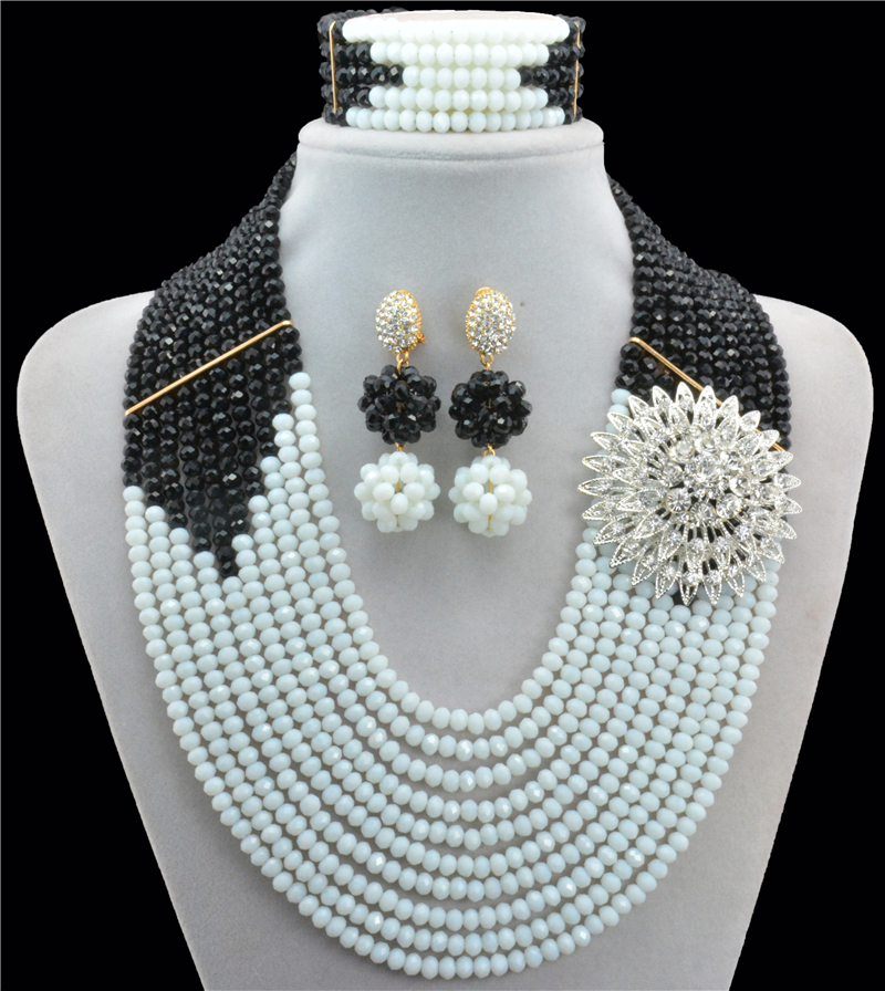 Black White Ancient Classic 2016 New Arrival Nigerian Wedding African Beads Jewelry Set Indian Bridal Jewelry Set 10033 oysters indian v black white