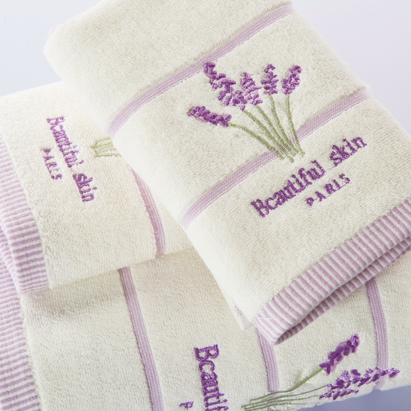 ROMORUS 100% Cotton Purple Lavender Embroidered Towel Sets Soft Bath Towels  for Adults Quality Face Towels Bathroom Beach Towel-in Towel Sets from Home  ...