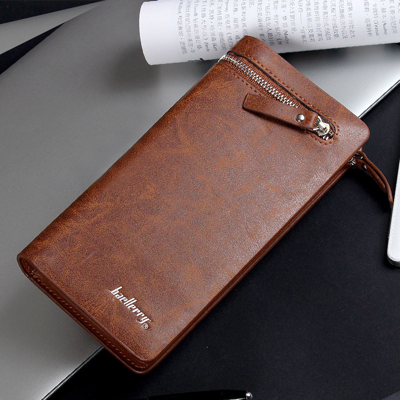 New Fashion Men Wallets PU Leather Zipper Wallet Male long section Long Design Purse Two Fold More Color Clutch in Wallets from Luggage Bags