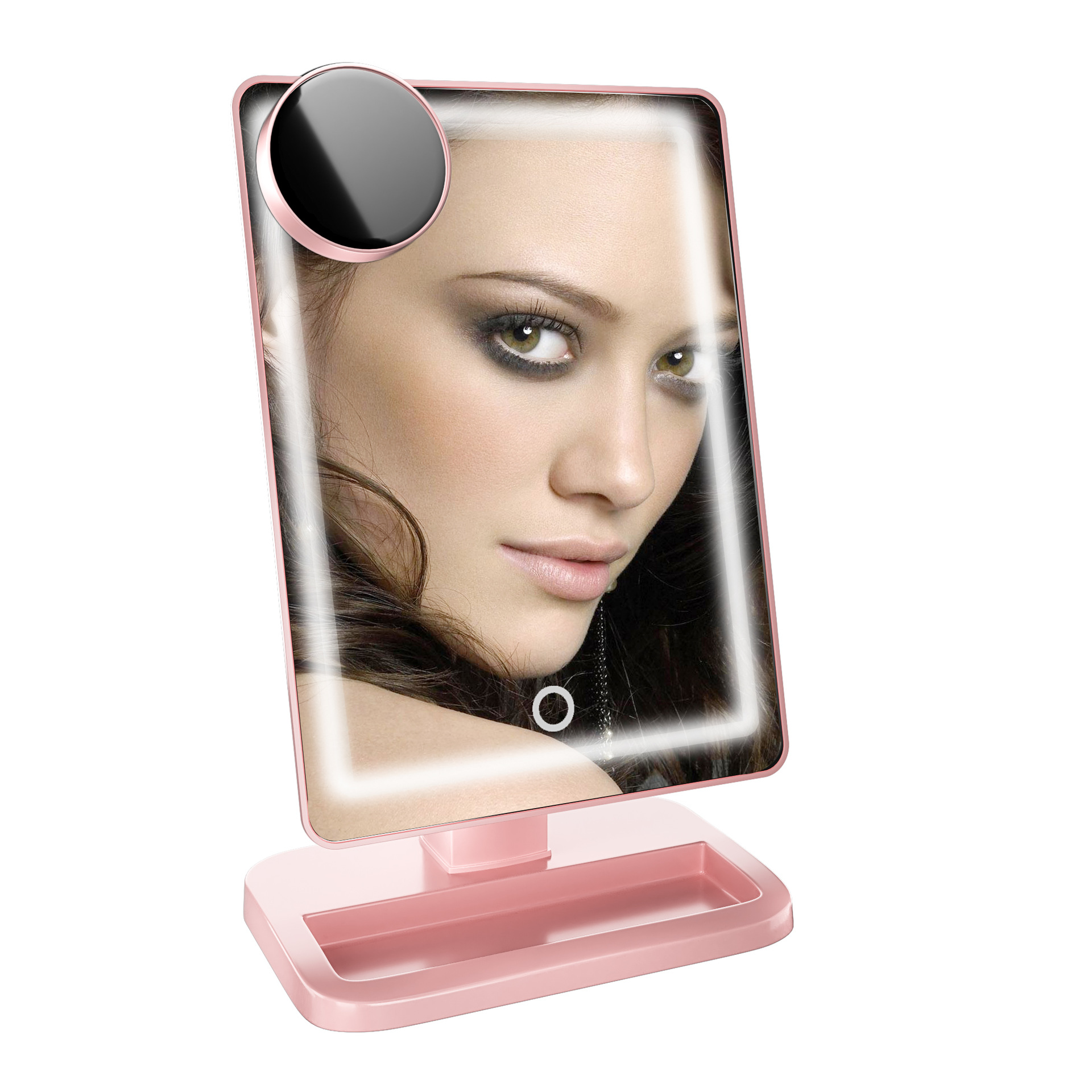 LED Makeup Mirror Tabletop 180 Degree Rotation Vanity Make Up Cosmetic Mirror With Removable 10X Magnifying Beauty Tool 360 degree swivel led makeup mirror rotating dual sided make up tabletop magnifying mirrors with lights for women lady gift fm88