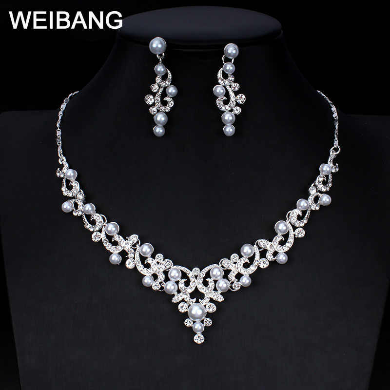 weibang Bridal Wedding Jewelry Set for Women Jewelry Exquisite Imitation Pearl Necklace Earring Set for Girls Gifts