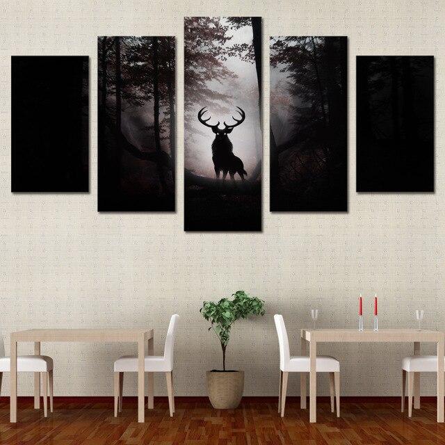 5 Piece Canvas Art Hd Print Deer Elk Moose Reindeer Painting Wall Decorations Living Room