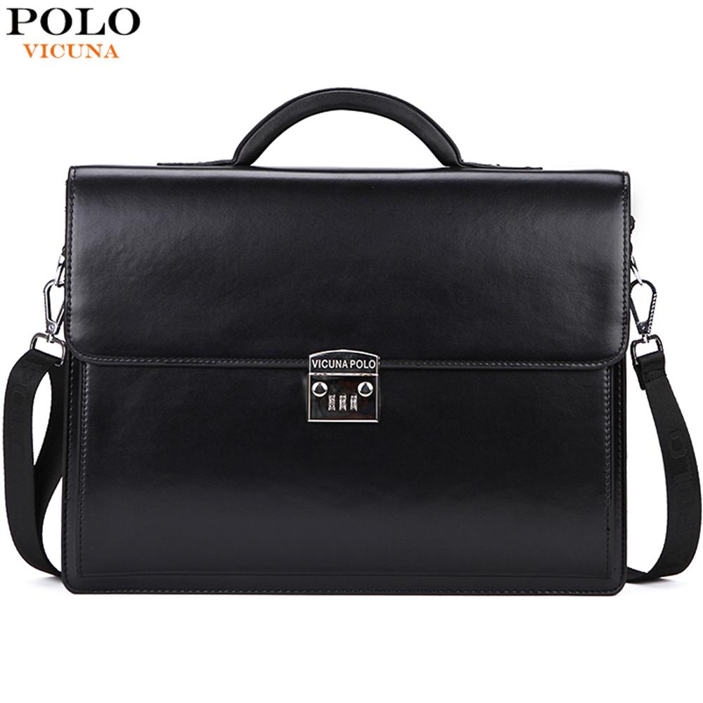 VICUNA POLO Luxury Business Mens Briefcase With Code Lock High Quality OL Business Man Bag Italy Brand pasta executiva masculino-in Briefcases from Luggage & Bags