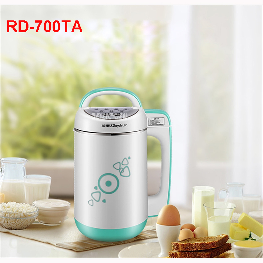 220V/50Hz Household Soy-Milk RD-700TA 1300-1500ml SOYMILK MAKER 800W Heating power Soybean-Milk machine Stainless Steel soybean extract soy isoflavones