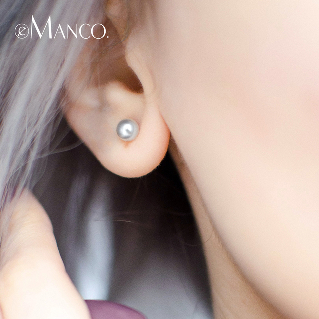 e-Manco Round Pearl Stud Earrings Elegant 925 Sterling Silver Earring Delicate M