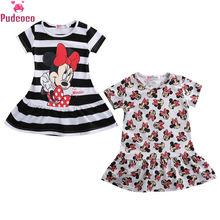 3-7 Years Cartoon Mickey Minnie Mouse Pattern Kids Girls Dresses Short Sleeve Striped Baby Girl Dress Summer Sundress цена 2017