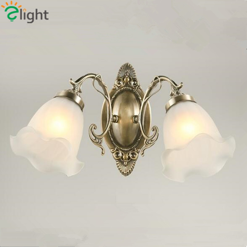 ФОТО Europe Royal Iron Foyer E27 Wall Lamp French Romantic Frosted Glass Bedroom Led Wall Light Pastoral Diningroom Wall Lighting
