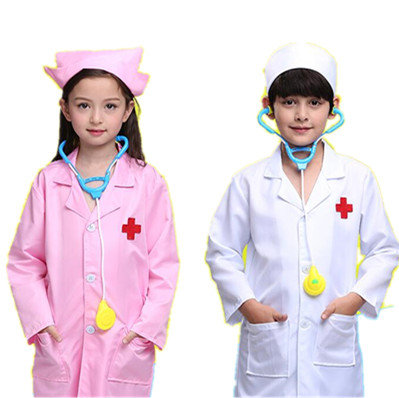 Kids Doctor Cosplay Costumes Baby Girls Nurse Uniforms Role Play Halloween Party Wear Fancy 3PCs Girls Cosplay Doctor Jacket