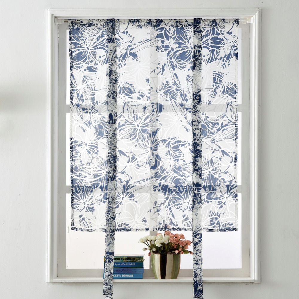 Curtains up window panel modern treatment rod curtains kitchen short floral sheer curtain roman balloon blind in curtains from home garden on
