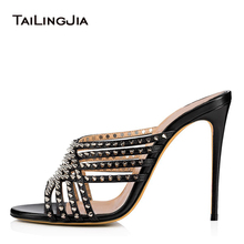 Stylish Black Open Toe High Heel Mules with Spikes Straps Women Heeled Rivets Sandals Party Dress Shoes Ladies Summer Heels 2019 stylish women s sandals with flowers and black colour design