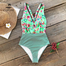 CUPSHE Flora Print And Striped One Piece Swimwear Women V neck Cross Tied Back Monokini 2019 Girl Sexy Backless Swimsuits
