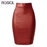 2017European And American Fashion Women Wine Red PU Leather Stretch Slim High Waist Knee Length Pencil