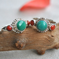 Nepal 925 sterling silver inlaid CORAL TURQUOISE ring of handmade lace or female
