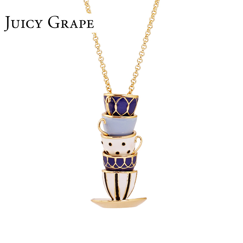 Juicy Grape 2019 New Hand Made Sweater Chain Clothing Accessories Long Necklace Enamel Jewelry Tea Cup Necklace Pendant Woman