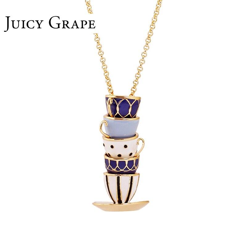 Juicy Grape 2019 nuevo suéter hecho a mano accesorios de cadena collar largo esmalte joyería taza de té COLLAR COLGANTE Mujer