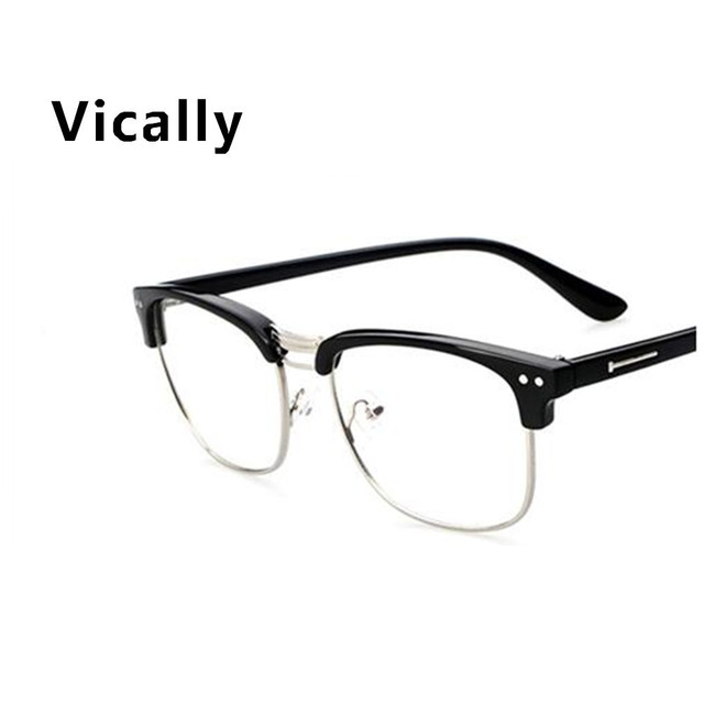 2cbee5476db6 Fashion Metal Half Frame Glasses Frame Retro Woman Men Reading Glass UV  Protection Clear Lens Computer Eyewear Eyeglasses