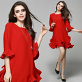 HIGH QUALITY Newest Fashion 2017 Runway Dress Women's  Pleated Ruffles  Red Retro Dress
