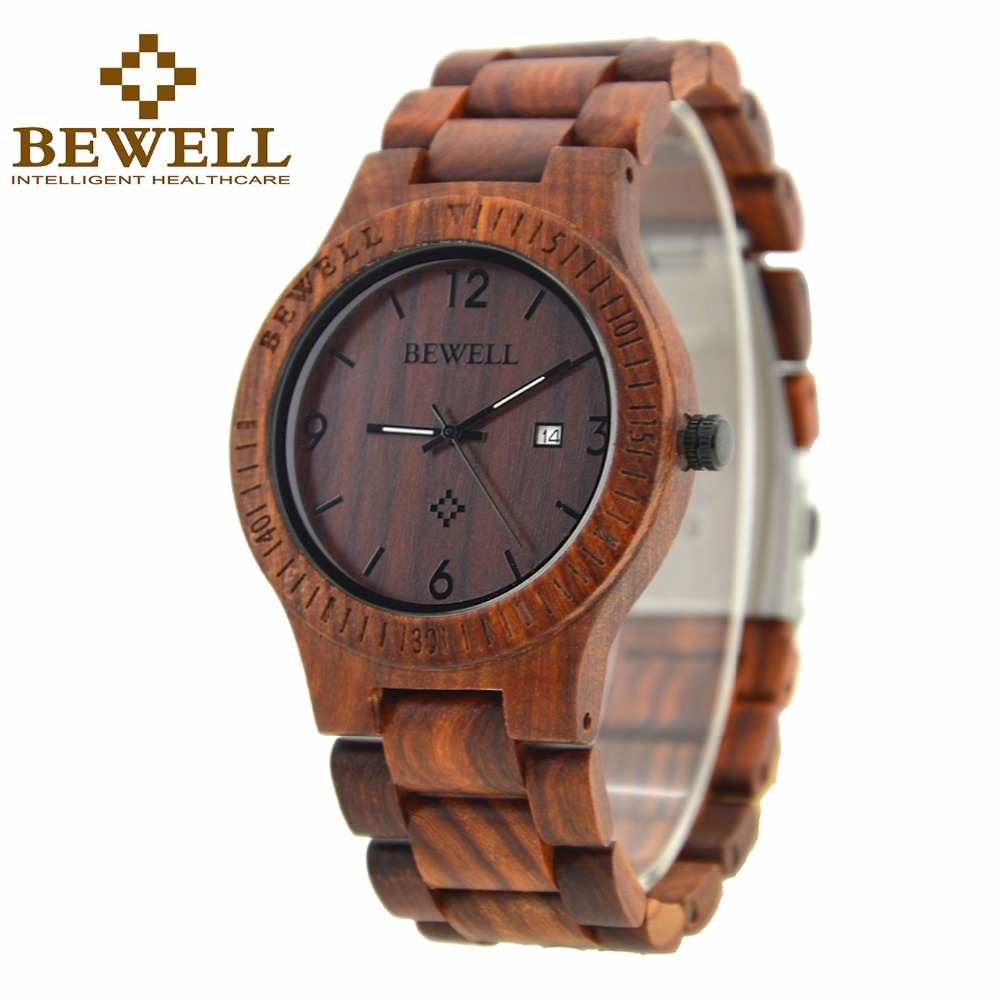 BEWELL luxury Wooden Watch for Men Calendar Wrist Watches with Luminous Hands Relogio Masculino with Gift Box 086B