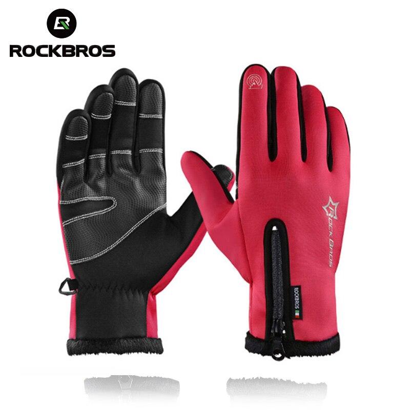 ROCKBROS pantalla táctil bicicleta guantes térmica de invierno a prueba de viento cálido dedo completo Guante Anti-slip guantes de bicicleta para los hombres las mujeres