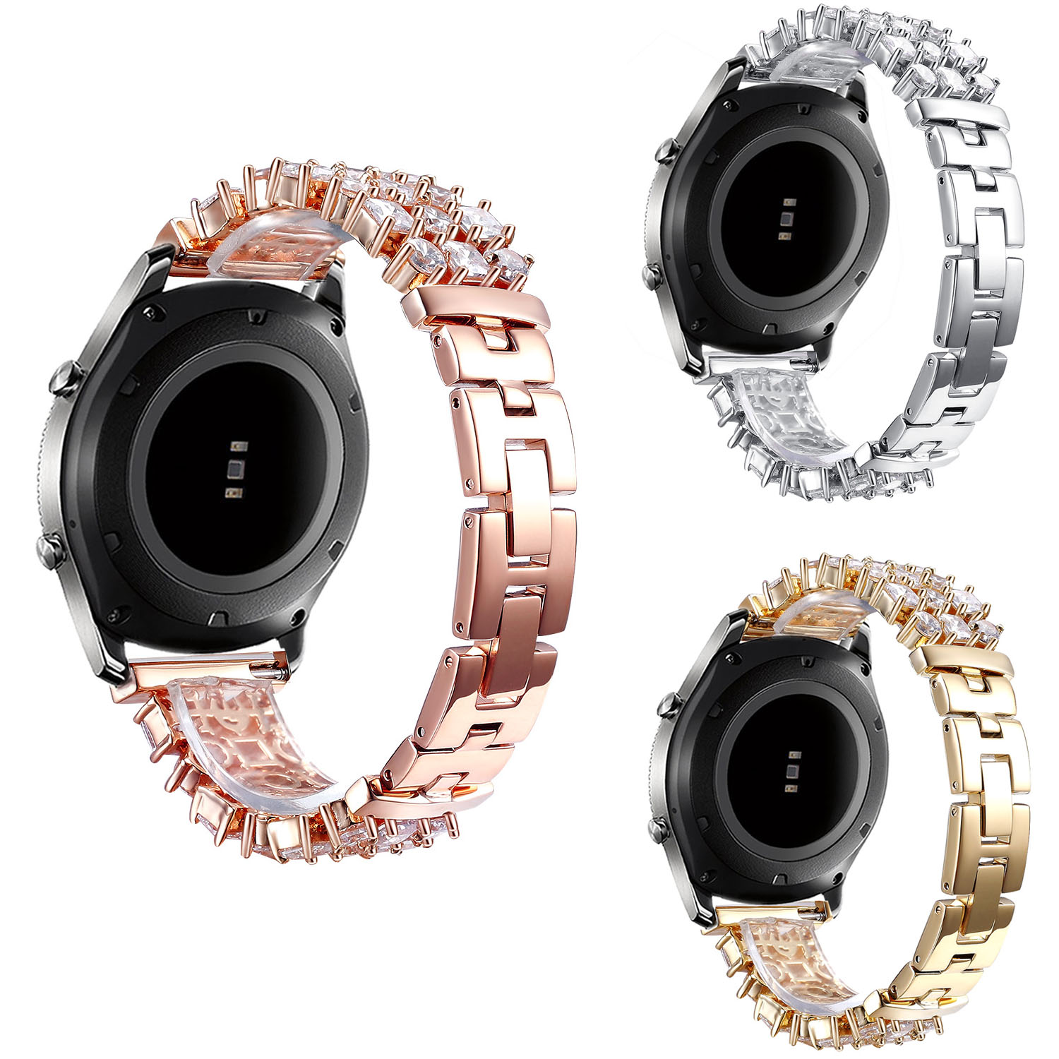 Bling Jewelry Bracelet for Samsung Galaxy Gear S3 Frontier R760 S3 Classic R770 Strap Rhinestone Stainless Steel Band 22mm все цены