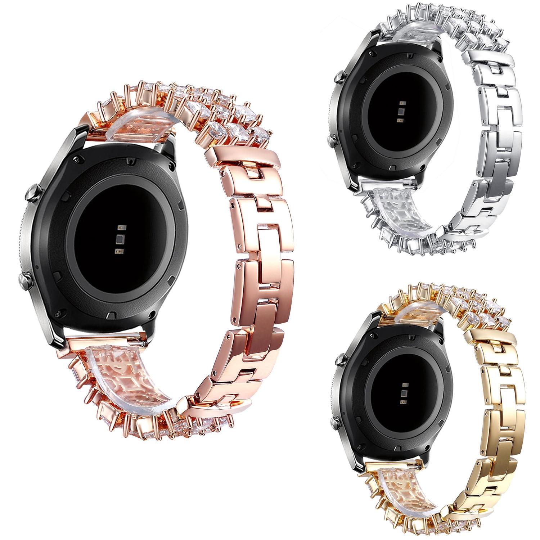 Bracelet bijoux Bling pour Samsung Galaxy montre 46mm bande Gear S3 Frontier Bracelet classique Amazfit strass bande en acier inoxydable