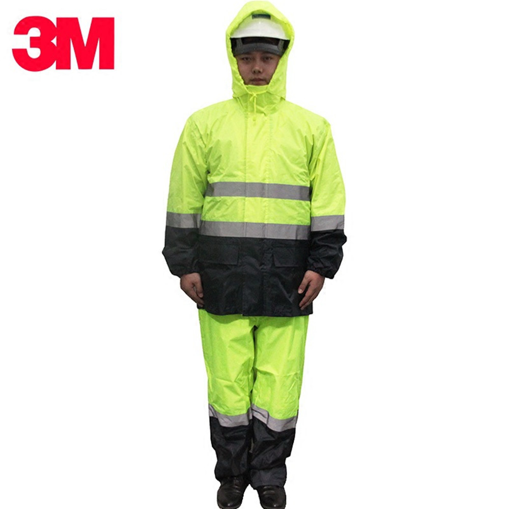 3M Raincoat Electric Car Raincoat Rain Pants Suit Male Motorcycle Poncho Increase Single Reflective Safety Warning Clothing reflective raincoat rain pants waterproof single raincoat men and women for riding working free shipping
