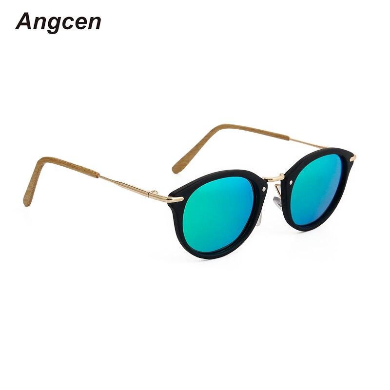 Angcen Polarized Sunglasses Women Round Retro Wooden Bamboo Sunglasses Metal Frame Sun Glasses For Women Uv400 Vintage Eyewear