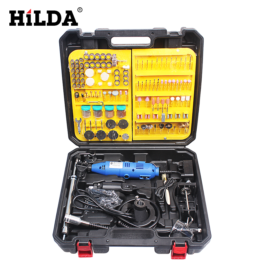 HILDA Mini Electric Tools For Dremel Grinder Dremel Style Rotary Tool Double Electric Mill Jade Carving Machine With Accessories hilda 60pcs dremel style diamond burr bit set for dremel rotary tools 1 8 150 grit dremel rotary tool dremel tools accessories