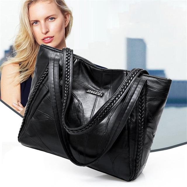 Women Tote Bag Genuine Sheepskin Patchwork Casual Hand Bags Big Capacity Woman Shoulder Bag Large Ladies Shopping Bags 2019 2