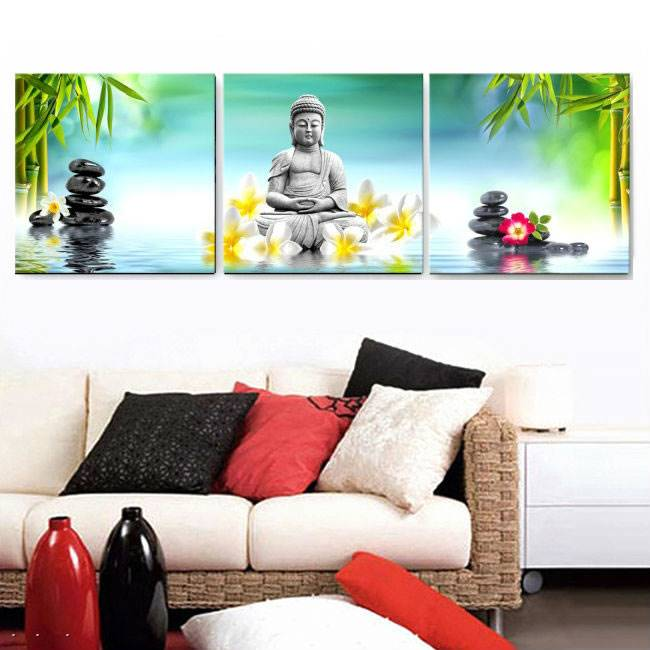 3 Panel Abstract Printed Hotoke Buddhism Buddha Oil Painting Picture Cuadros Decor Buda Canvas Art For Bed Room Framed Art W0116