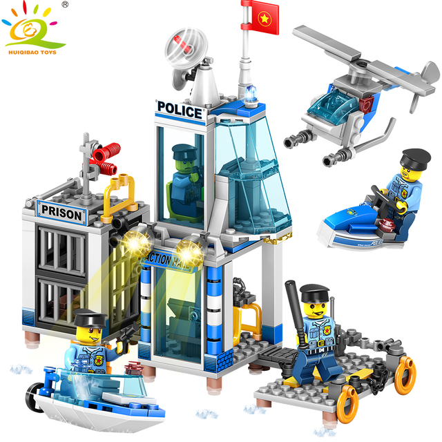 312pcs 4in1 Police station Boat Helicopter Building Blocks Compatible City Policemen figures Bricks Toys For children