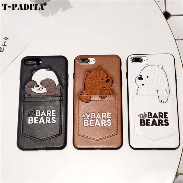 100% authentic b09a7 809b2 US $2.8 |Cute Pocket Bare Bears Leather Case for iPhone 8 8 Plus 7 7 Plus X  Bare Bears TPU Cover T PADITA OEM-in Half-wrapped Cases from Cellphones &  ...