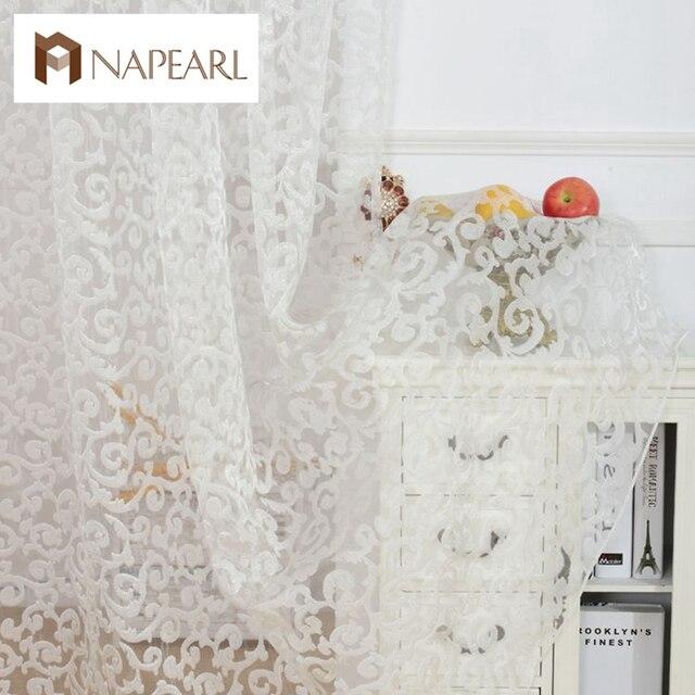 Европейский стиль жаккардовые дизайн украшения дома современные занавес тюль ткани органзы sheer панели окна