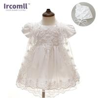 2017  Summer 3PCS Newborn Baby Christening Gown Dress Girls White Princess Lace Chiffon Dresses  for Newborn Baptism