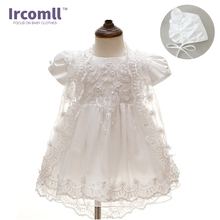2018 Summer 3PCS Newborn Baby Christening Gown Dress Girls White Princess Lace Chiffon Dresses  for Newborn Baptism недорого