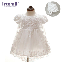 2018 Summer 3PCS Newborn Baby Christening Gown Dress Girls White Princess Lace Chiffon Dresses for Newborn Baptism