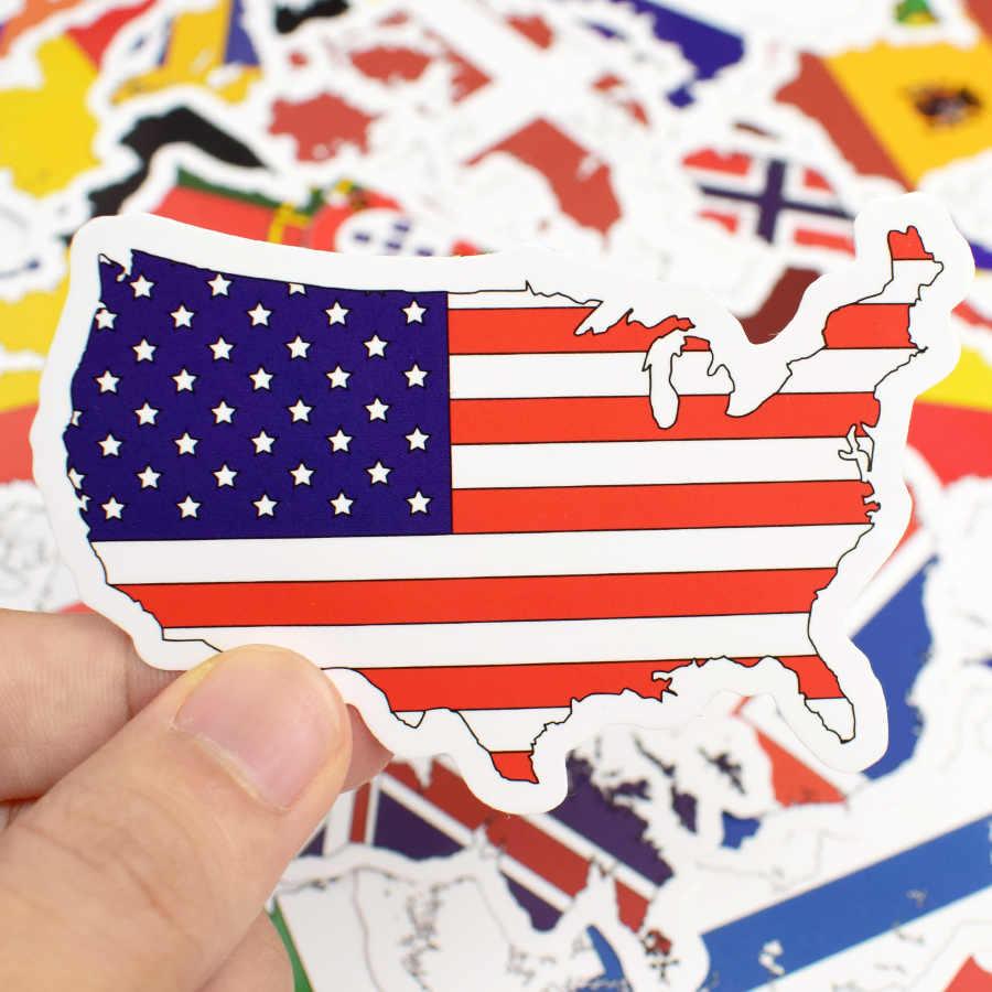 50 PCS הלאומי דגלי מדבקות צעצועים לילדים מדינות מפת נסיעות מדבקת כדי DIY רעיונות מזוודה מחשב נייד מכונית אופנוע