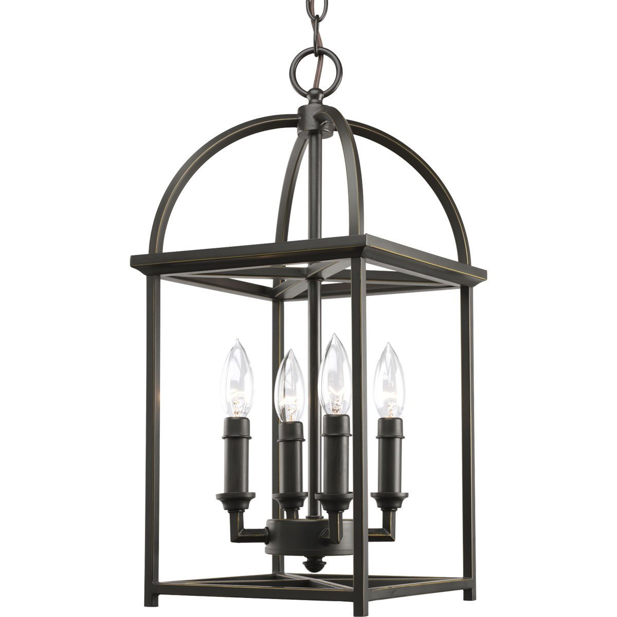 American Retro LED chandelier Black wrought iron lamp