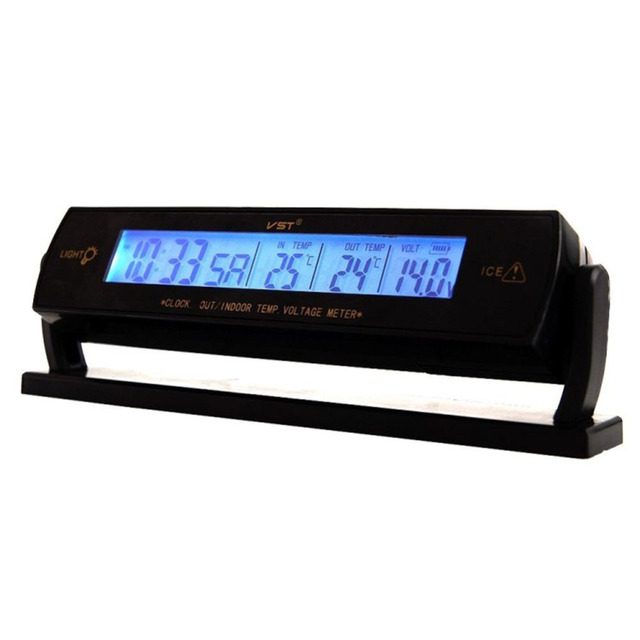 3 en 1 Termómetro Digital Car Voltímetro Reloj LCD Detector de Temperatura Monitor de Voltaje de La Batería 12 V 24 V Del Coche Del Voltímetro amperímetro