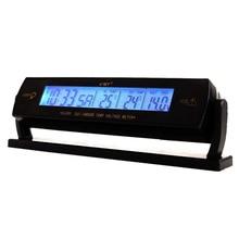 Buy online 3 in 1 Digital Car Thermometer Voltmeter LCD Clock Battery Voltage Temperature Monitor 12V 24V Car Detector Voltmeter Ammeter