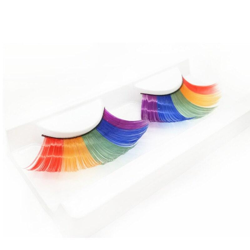 YOKPN Stage Performance Eye Lashes Makeup Tips Exaggerated False Eyelashes Mixed Color Fake Lashes Eyelash Extension Tools