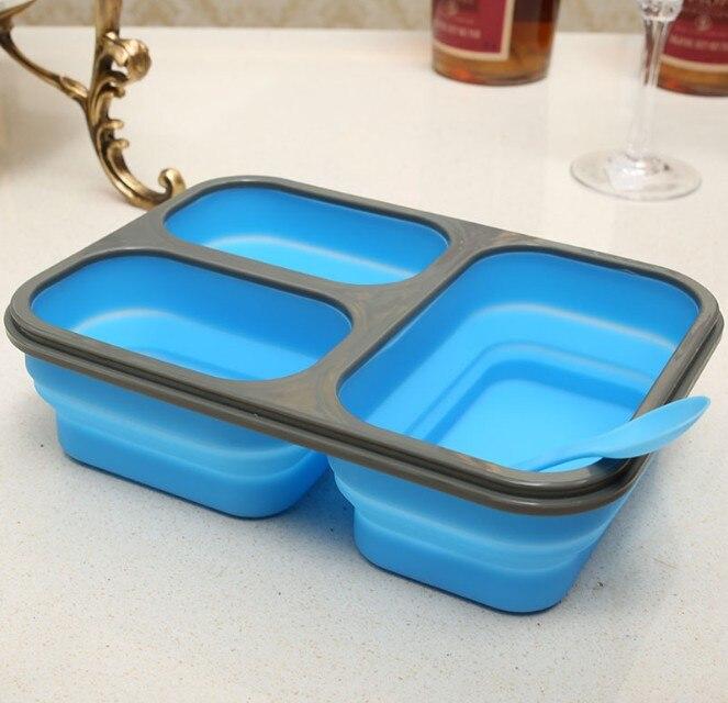 Boîte à Lunch Portable pliable en Silicone de grande capacité 1100ml four à micro-ondes bol boîte à Bento pliante boîte à Lunch de stockage des aliments