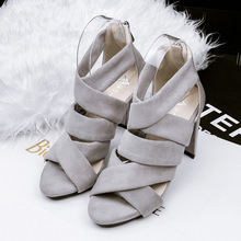 Free shipping high-heeled fashion summer hollow thin waterproof suede sandals female fish head