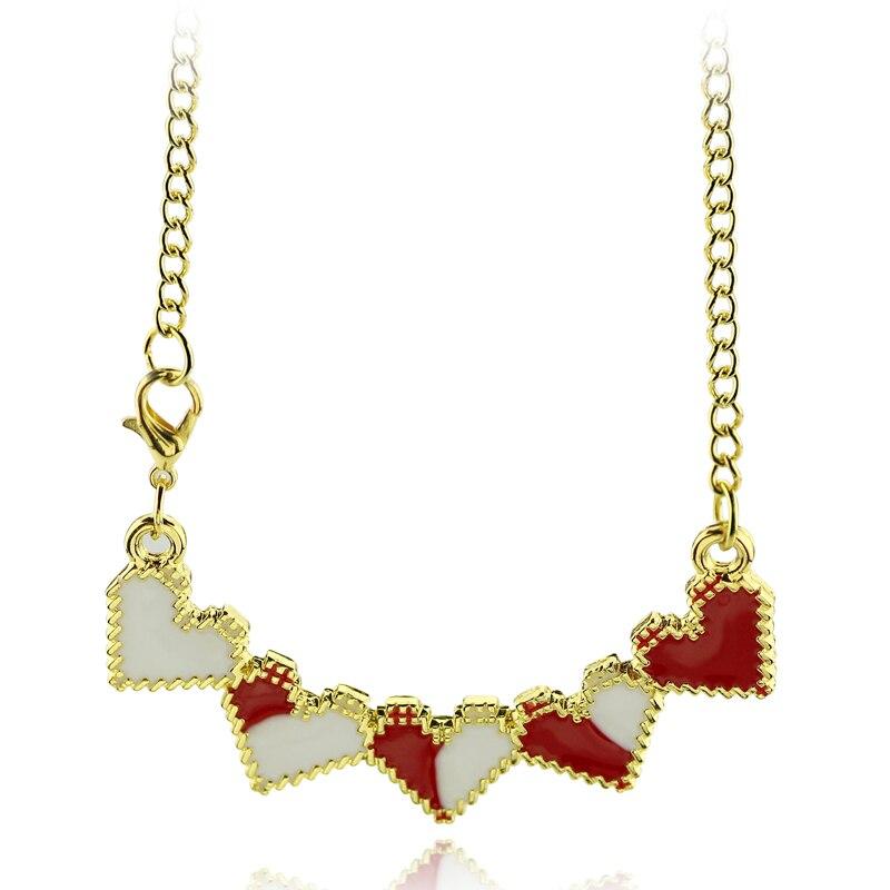 Movie Suicide Squad Necklace h Q Five Hearts Pendant Necklace For Girls Red Enamel Pendant Fashion Choker Accessories